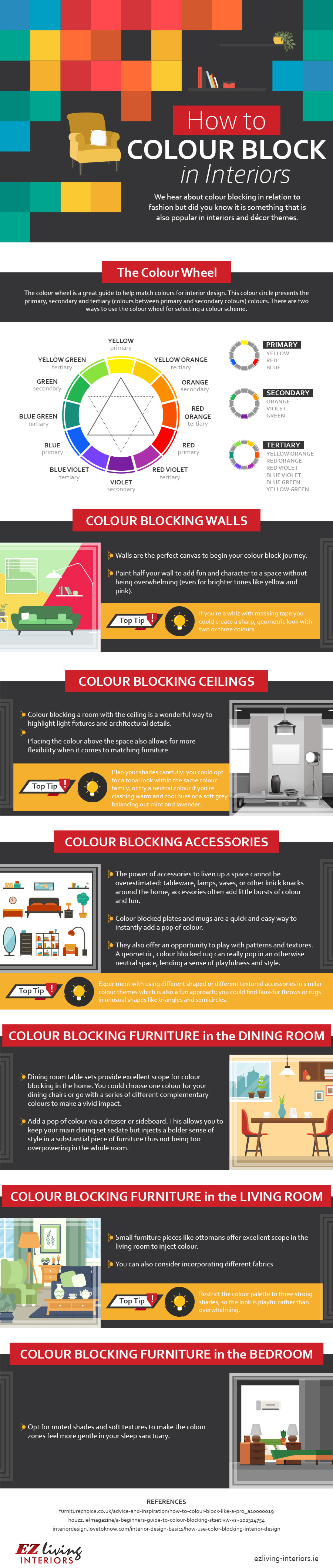 How to Color Block in Interiors and Furniture - Infographic