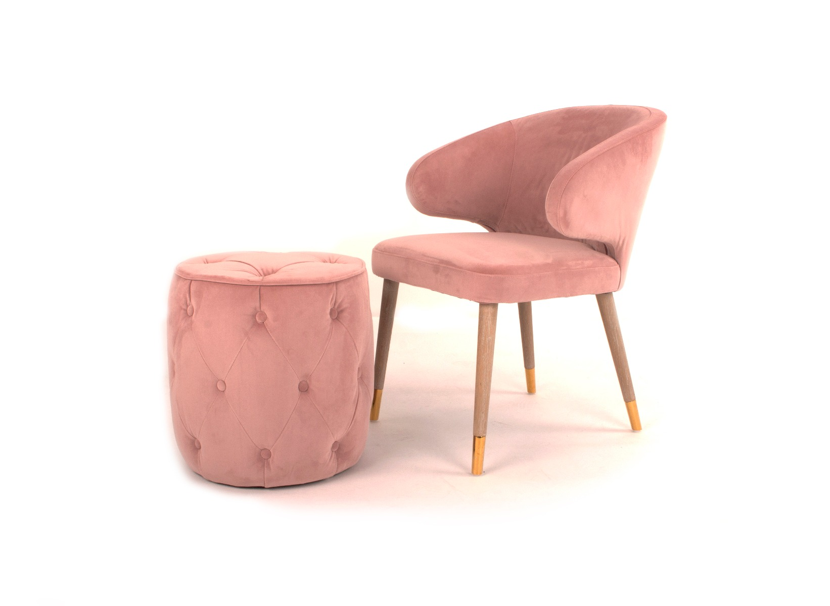 Picture of: Sofia Blush Pink Velvet Chair Footstool