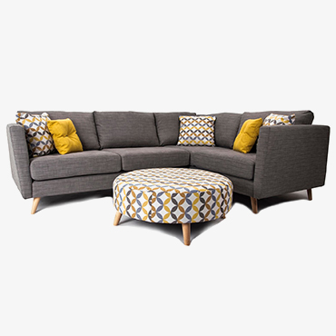 Clara Pewter Corner Sofa - Right Hand Facing