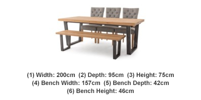Calia Dining Table 3 Marlow Chairs Bench