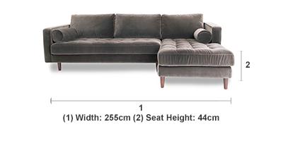 Scott Concrete Corner Sofa With Right Hand Facing Chaise