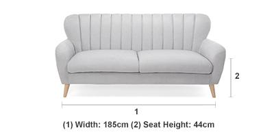 Waldorf 3 Seater Sofa in Light Grey