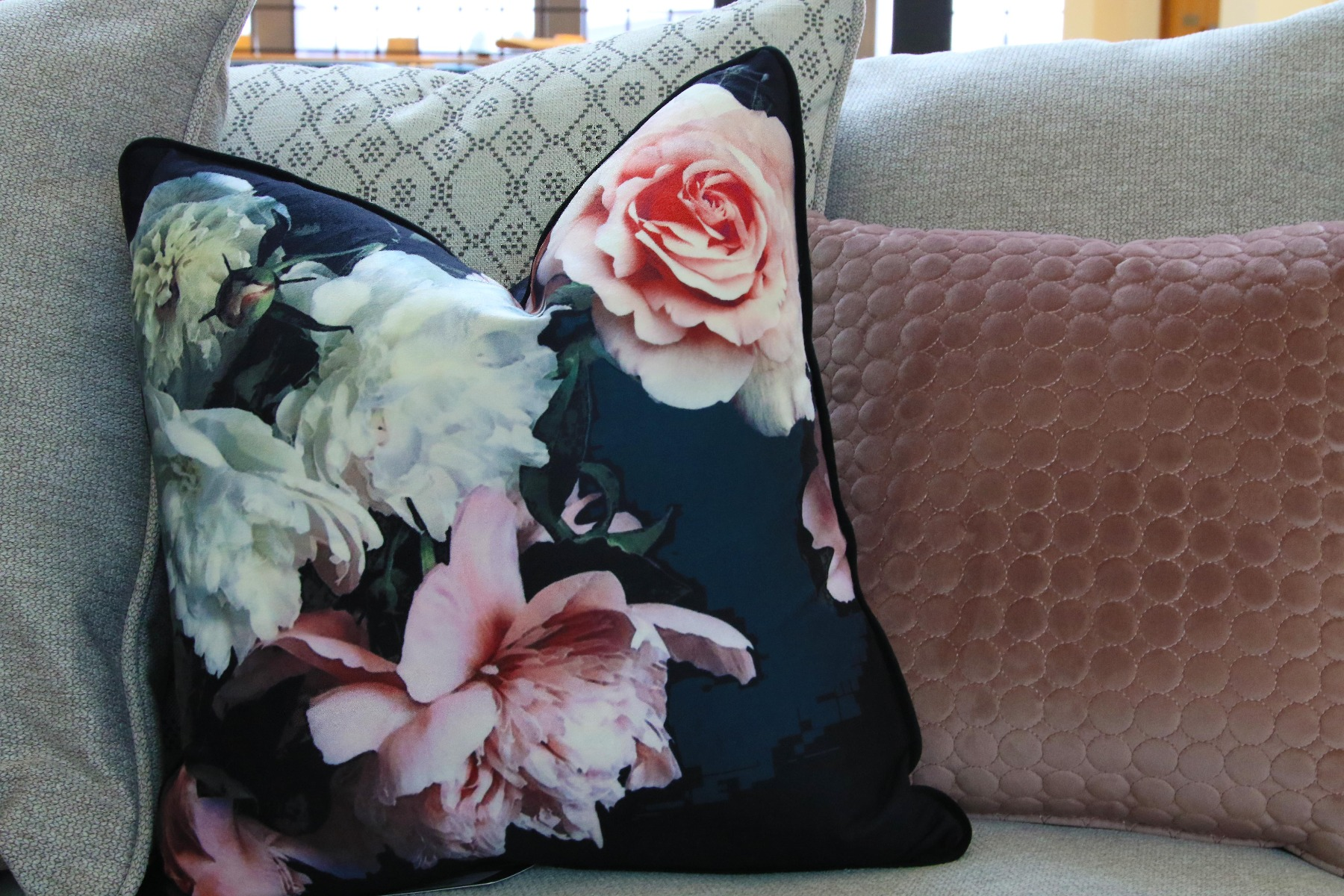 Dark Navy Cushions with pink roses
