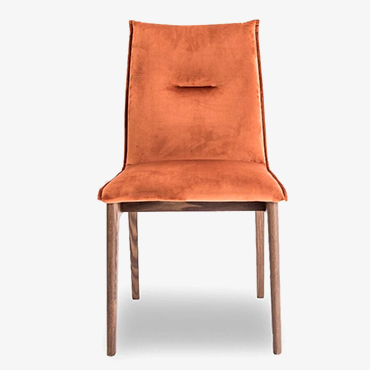 Maya Brick Red Velvet Dining Chair - Smoke Legs